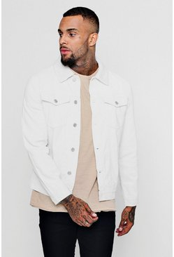 Mens White Borg Collar Cord Western Jacket