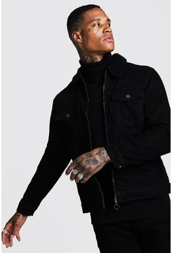 Black Zip Through Borg Collar Denim Jacket