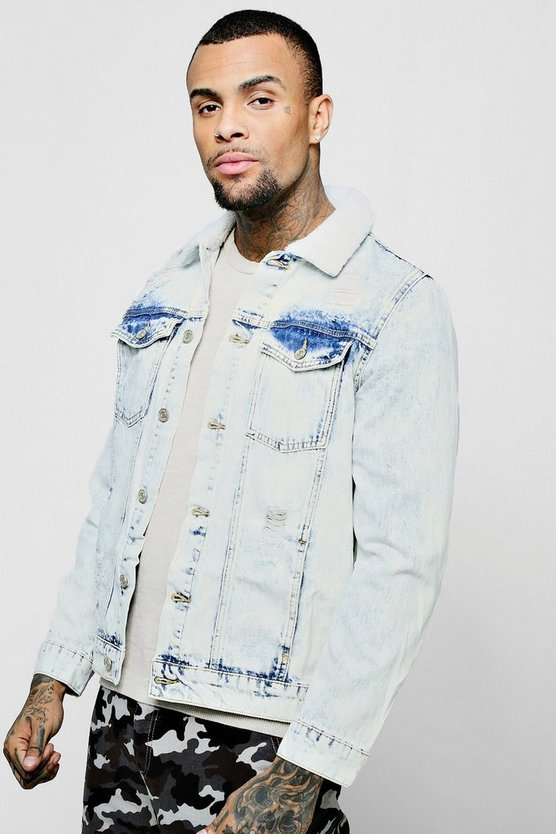 Borg Collar Acid Wash Denim Jacket