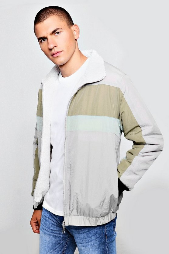 Mens Light grey Fully Borg Lined Colour Block Track Jacket