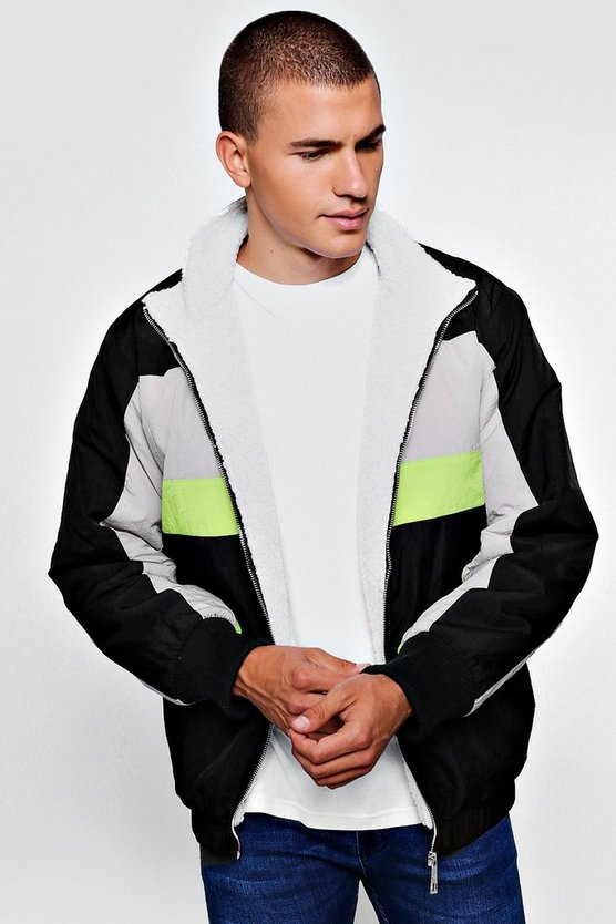 Mens Black Fully Borg Lined Colour Block Track Jacket
