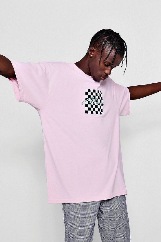 Mens Dusky pink Oversized MAN Checkerboard Print T-Shirt