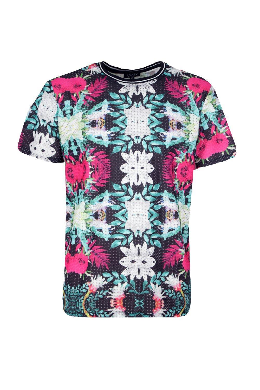 camiseta floral malla de holgada con deportiva Conjunto tejida multicolor de estampado pCxa77