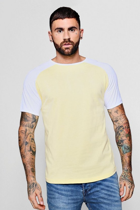 Raglan Ringer T-Shirt With Curve Hem