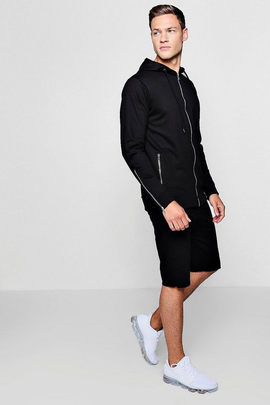 Zip Through Hooded Short Tracksuit With Zips