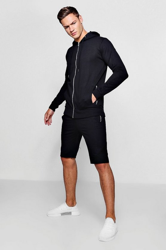 Mens Black Zip Through Biker Hoodie and Short Set