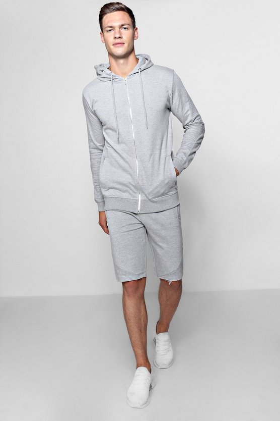 Zip Through Biker Hoodie and Short Set