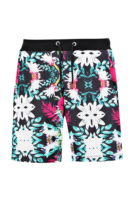 estampado con multicolor shorts floral con de malla Conjunto gq7nXIwx