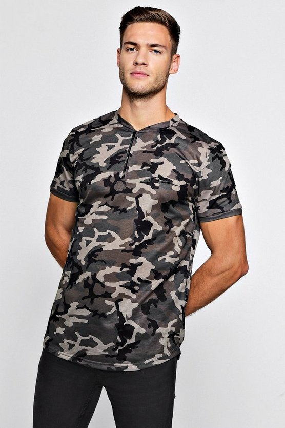 Mens Camo MAN Signature Camo Zip Neck Polo