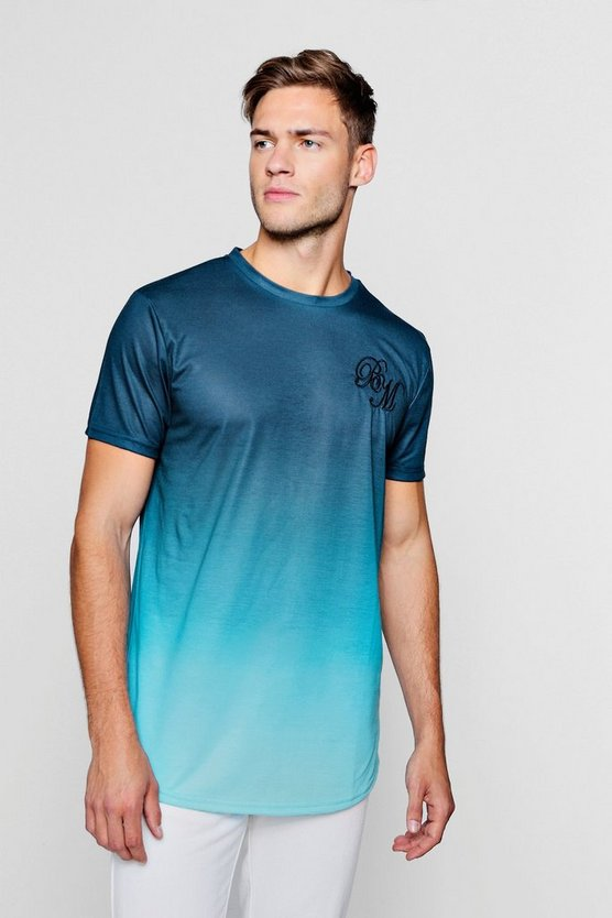 Longline BM Faded T-Shirt With Curve Hem