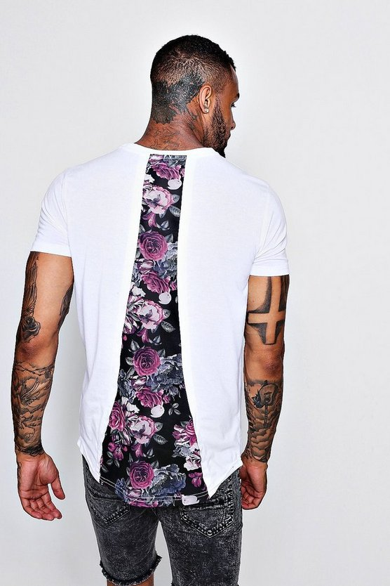 Longline BM Curved Hem Floral Back Panel T-Shirt