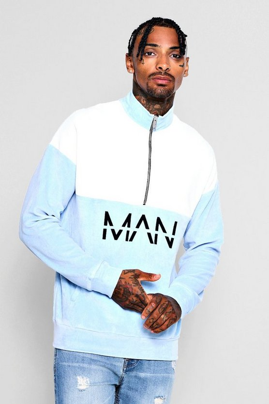 MAN Print Towelling Colour Block Track Top