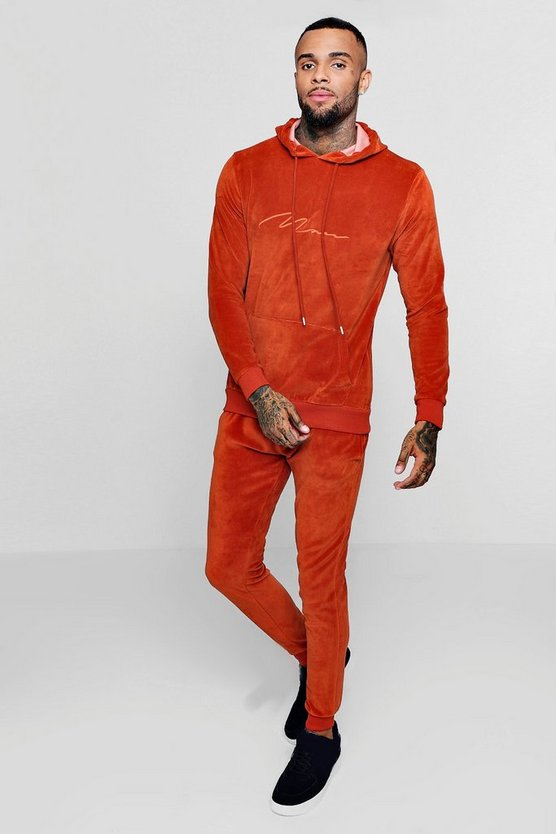 Mens Rust MAN Signature Velour Tracksuit