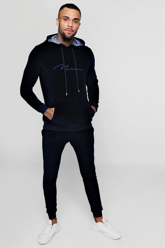 Mens Navy MAN Signature Velour Tracksuit