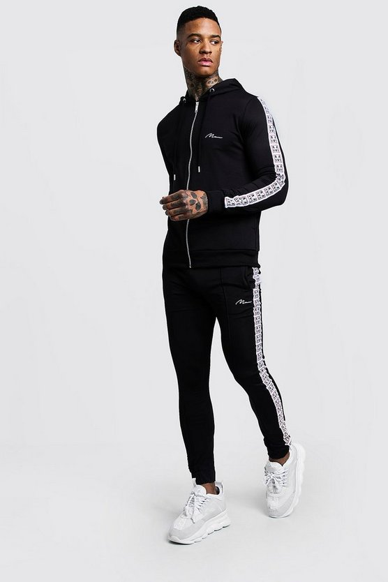 Skinny Fit MAN Tape Tricot Tracksuit
