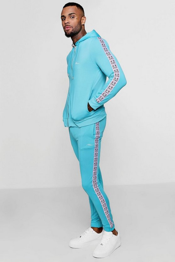 Mens Skinny Fit MAN Tape Tricot Tracksuit