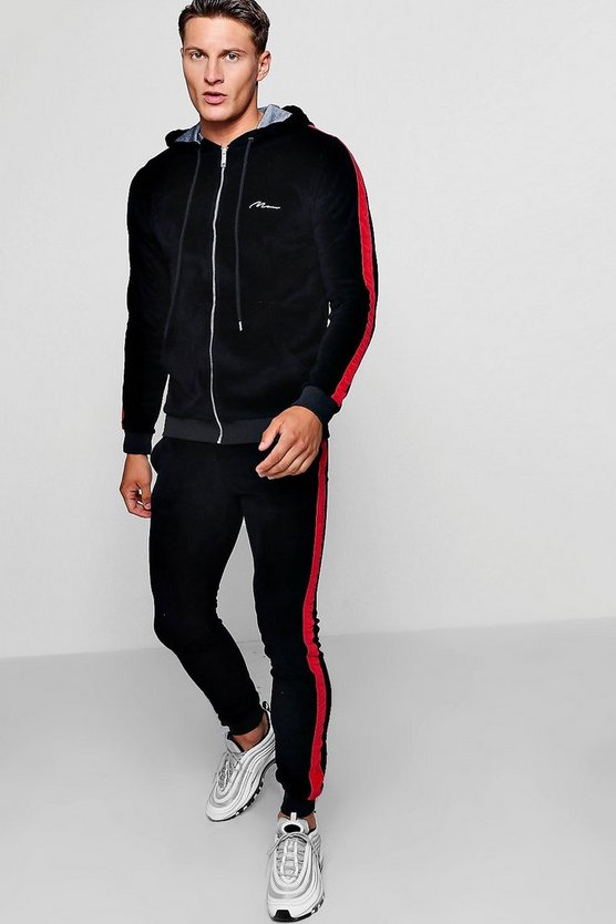 Skinny Fit MAN Velour Hooded Tracksuit