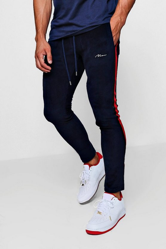 Navy Skinny Fit MAN Signature Velour Joggers