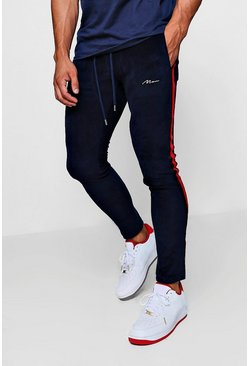 Mens Navy Skinny Fit MAN Signature Velour Joggers