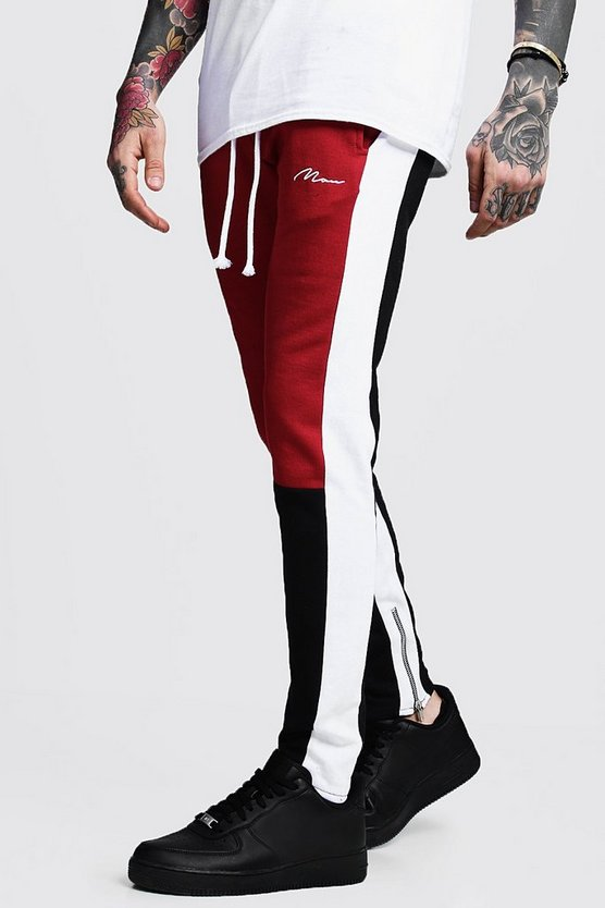 Skinny Fit MAN Colour Block Joggers