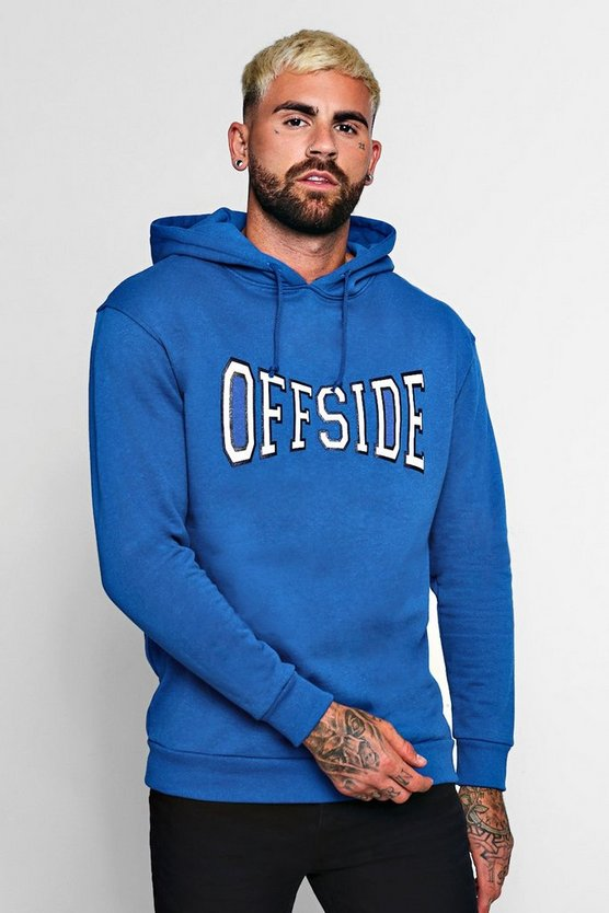Cobalt Off Side Large Chest Print Hoodie
