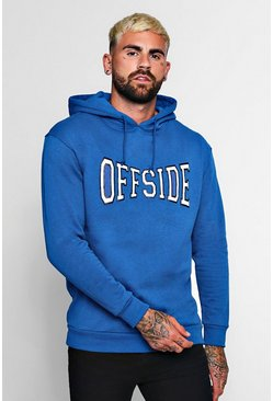Mens Cobalt Off Side Large Chest Print Hoodie