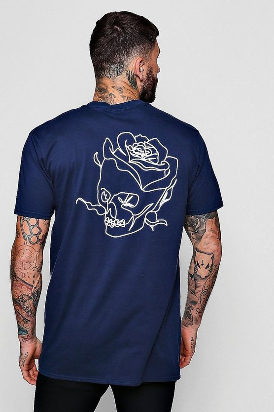 Navy Oversized Skull Back Print Tee With Front Slogan