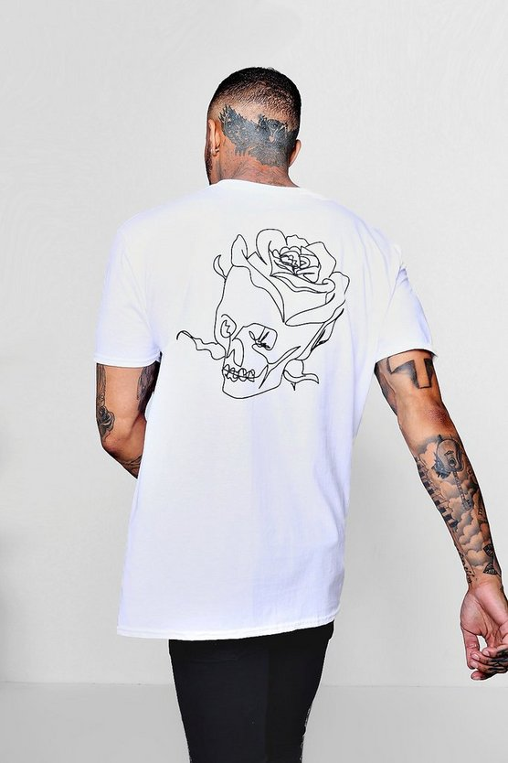 Oversized Skull Back Print Tee With Front Slogan
