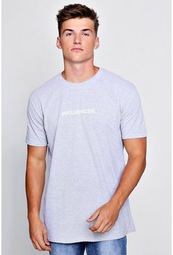 Mens Grey Influencer Slogan T-Shirt