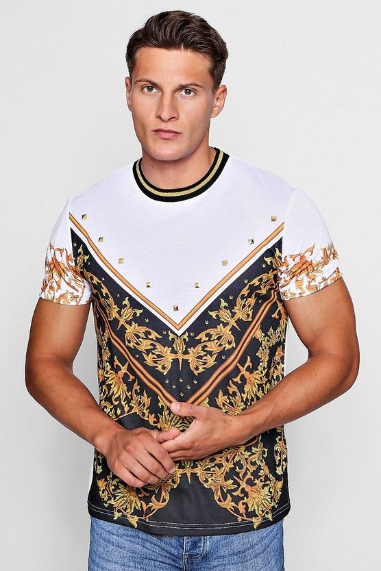 Sports Rib Neck Baroque Print T-Shirt