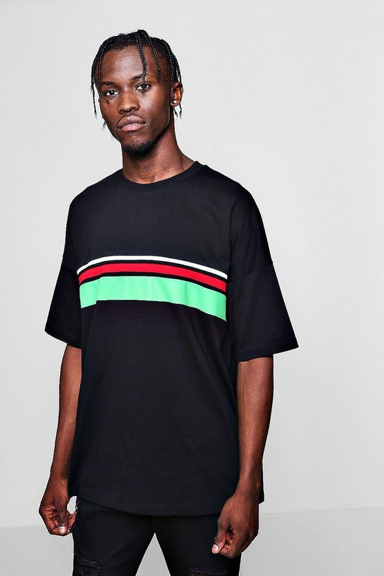 Boxy Fit Colour Block Tape T-Shirt