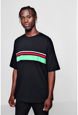 Mens Black Boxy Fit Colour Block Tape T-Shirt