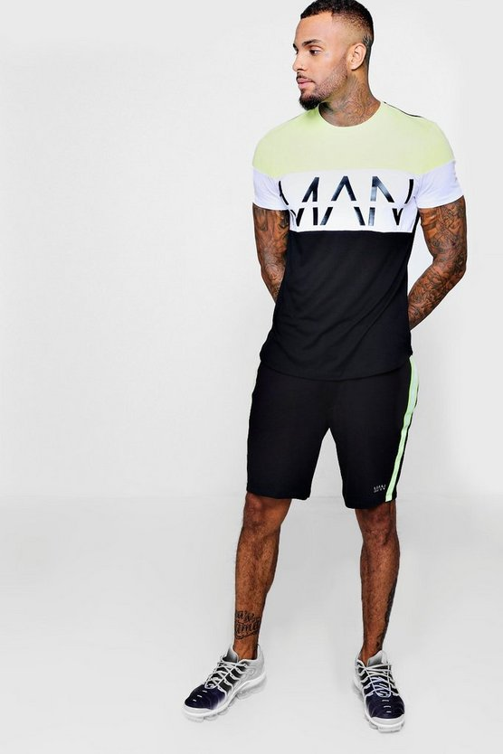 MAN Reflective Colour Block Tee/Short Set
