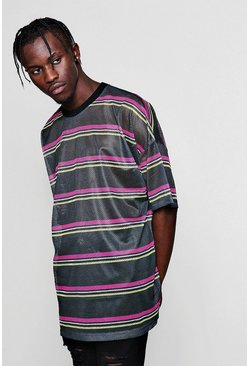 Mens Black Oversized Neon Stripe Mesh Tee