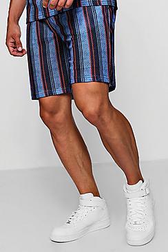 Mesh Wide Stripe Mid Length Co-ord Short
