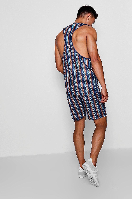 a multicolor rayas shorts malla estampado Conjunto de en con vqnFgZB