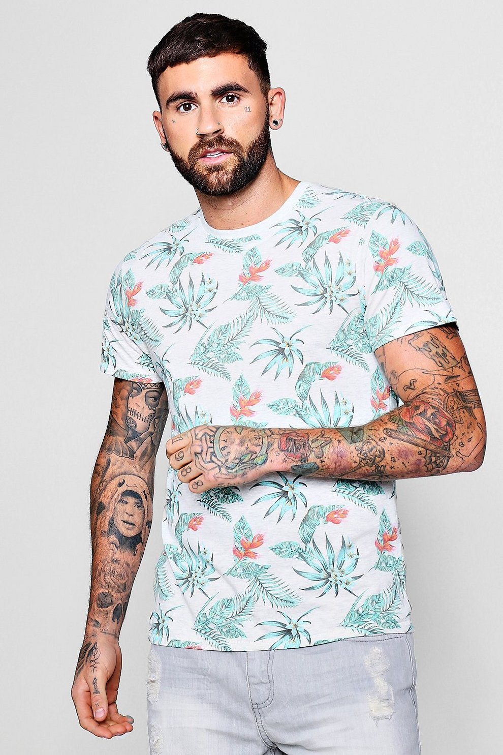 8340981db05 Mens Ecru Washed Floral T-Shirt