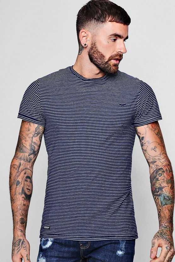 Crew Neck T-Shirt With White Stripe