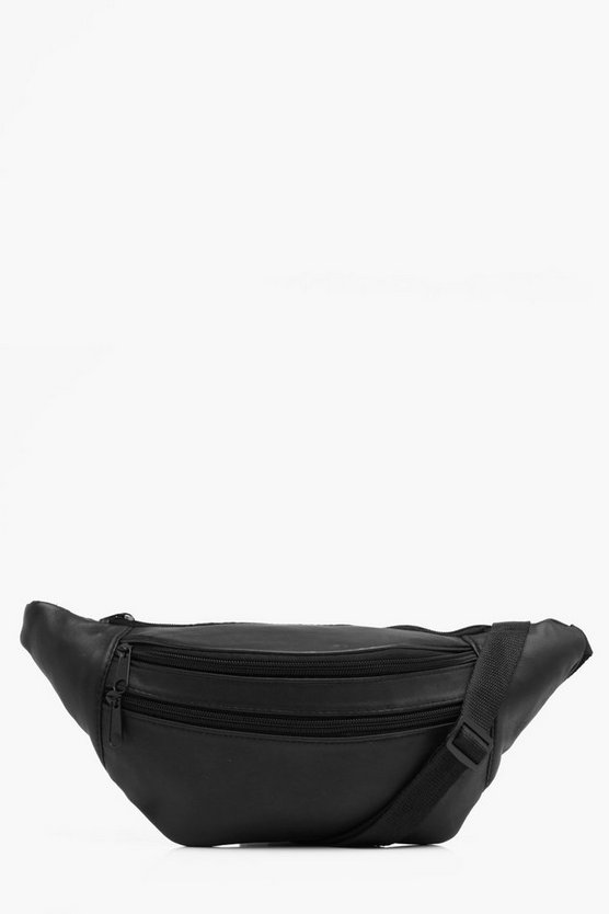 Large Real Leather Double Front Zip Bumbag