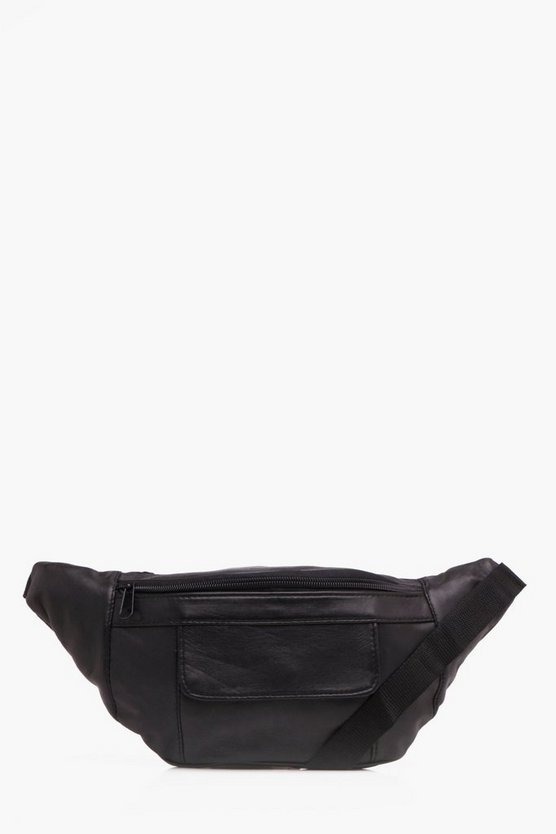 Real Leather Front Flap And Top Zip Bumbag