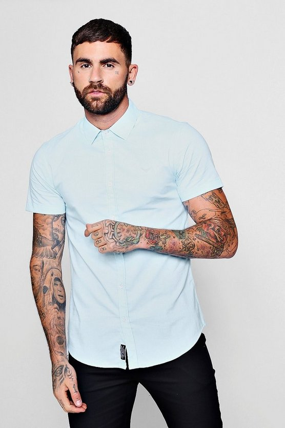 Mens Blue Short Sleeve Texture Shirt In Muscle Fit