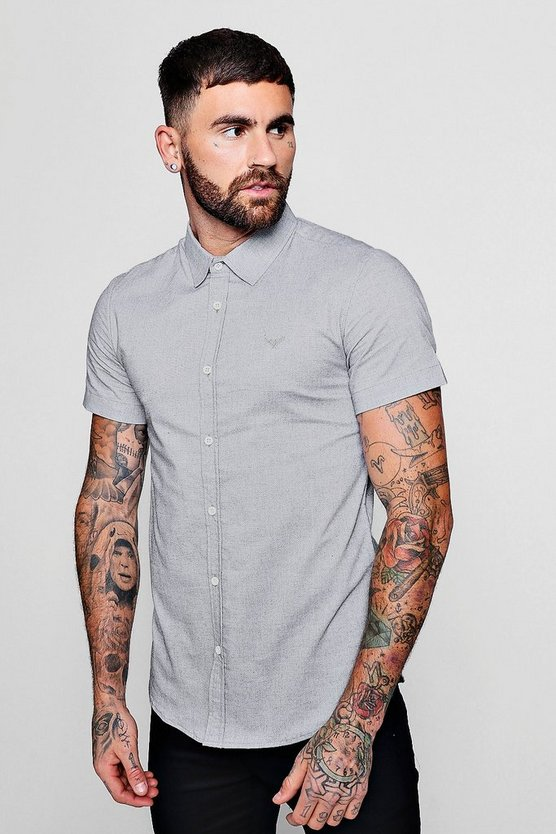 Short Sleeve Texture Shirt In Muscle Fit