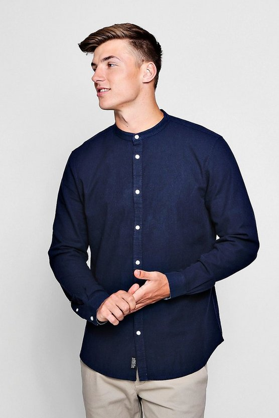 Linen Cotton Blend Long Sleeve Grandad Shirt