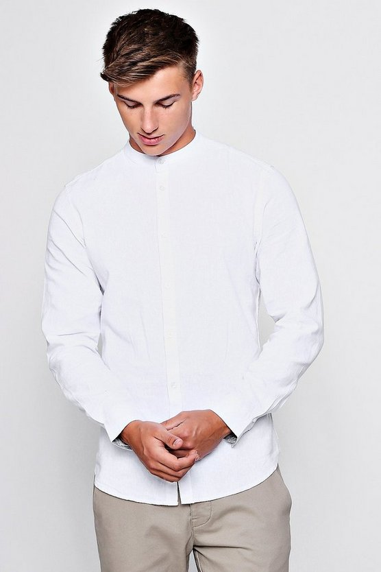 Mens White Linen Cotton Blend Long Sleeve Grandad Shirt