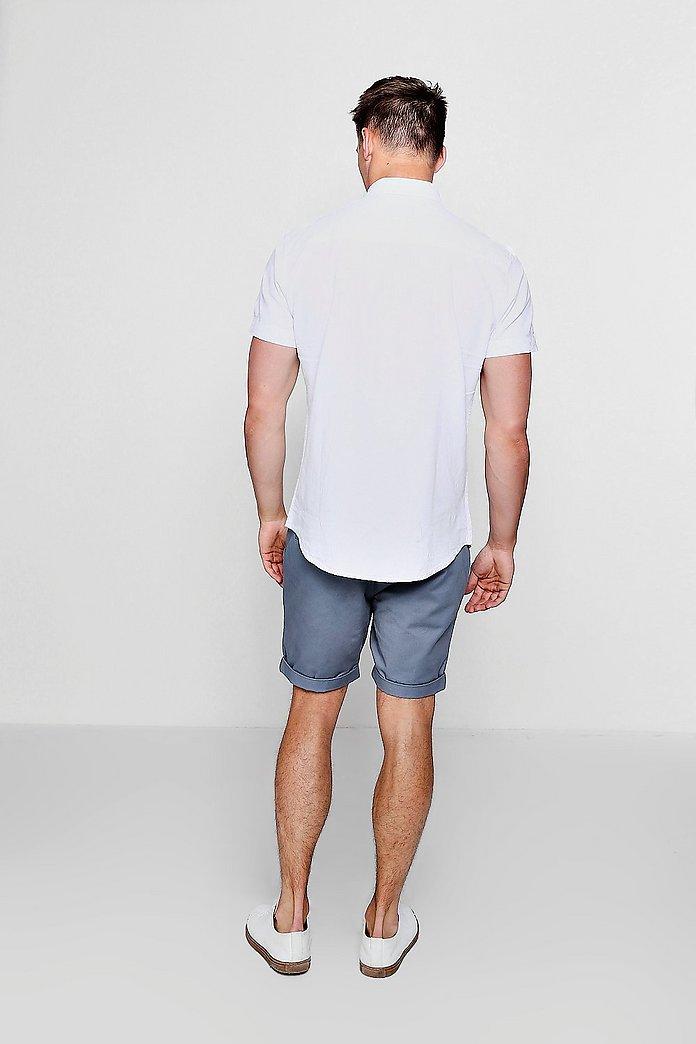 Linen Cotton Blend Short Sleeve Shirt   boohoo