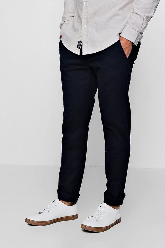 Mens Navy Stretch Slim Fit Cotton Chino Trouser