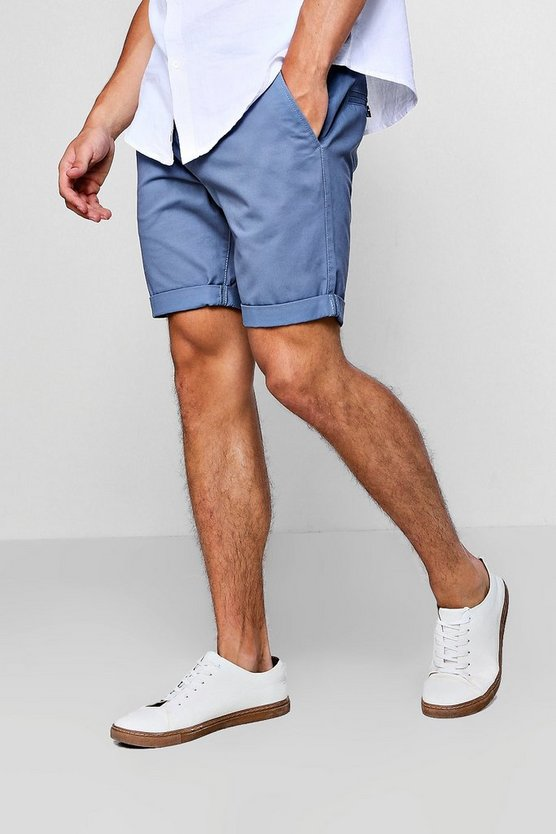 Mens Blue Skinny Fit Chino Shorts