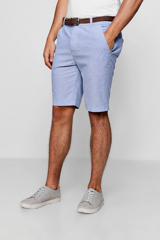 Mens Blue Cotton Oxford Short With Woven Belt