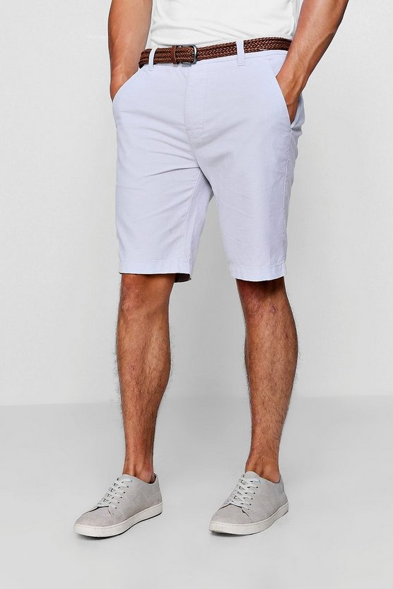 Cotton Oxford Short With Woven Belt, Pale grey, МУЖСКОЕ