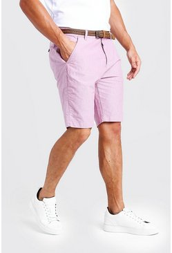 Herr Pink Cotton Oxford Short With Woven Belt